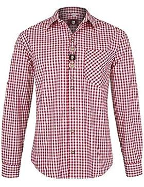 OS Trachten Herren Herren Krempelarm Trachtenhemd Rot-Weiß Kariert Stickerei, Rot,