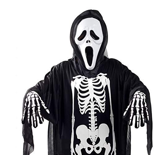 Hilai Schwarz Skeleton Schädel-Kostüme und Scary Schreien Maske Geist Cosplay Robes Set Masquerade Geist Robe-Abendkleid mit Gesichtsmaske und Handschuhe Geist-Halloween-Kostüm (Erwachsener) (Masquerade Handschuhe)