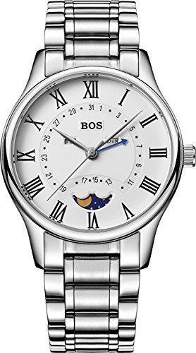 De cuarzo de los hombres de negocios de Angela Bos resistente al agua esfera blanca de acero inoxidable de banda de la cintura de los relojes