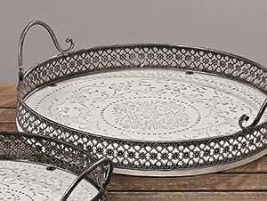 tablett holztablett serviertablett shabby chic holz wei antik look d37cm k che. Black Bedroom Furniture Sets. Home Design Ideas