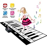 SGILE Große Klaviermatte Musikmatte mit Aufnahme Funktion, Pianomatte Keyboard Matten, Spielteppich Piano, Faltbare Spielmatte Musik mit 24 Tasten und 8 Instrumenten, Musikinstrument für Kinder