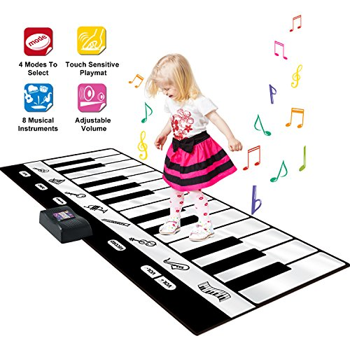 SGILE Keyboard Dance Mats - 24 Keys Giant Electronic Piano Musical Instrument Floor Mat with Record