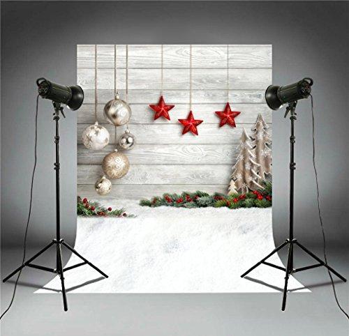 ors Weihnachten grau Holz Mauer Schnee am Boden BODEN Frohe Weihnachten Party Wanddekoration ft-4338 ()