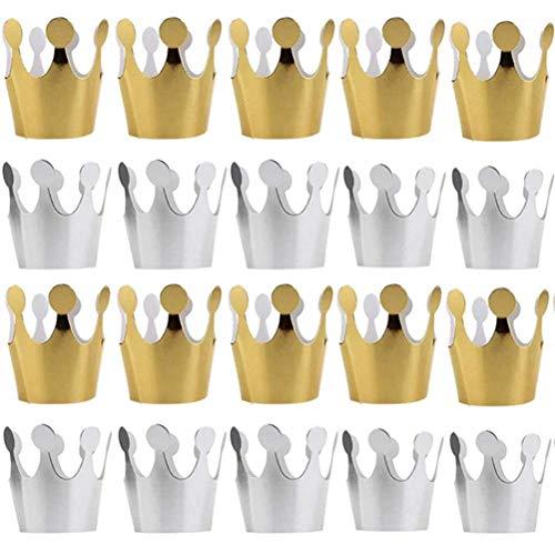 Yesoa 24 Stück Geburtstag Krone Hüte Geburtstag Party Hut für Kinder Erwachsene Geburtstag Babyparty Dekoration Feier Zubehör Foto Requisiten Gut & ()