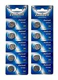 Eunicell 10 x CR1620 3V Lithium Knopfzelle 70 mAh (2 Blistercards a 5 Batterien) EINWEG Markenware