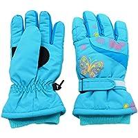 Arcweg Guantes de esquí para niña Guantes de Invierno Forrados de Felpa Impermeables y térmicos de Nieve Ciclismo Azul M (6-8 años)