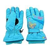 Arcweg guanti da sci da bambina guanti invernali felpati impermeabili e termici da neve ciclismo per ragazze Blu M (6-8 anni)