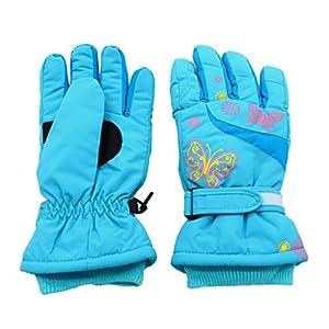 Arcweg Kinder Ski Handschuhe Mädchen Skifahren Wandern Wasserdicht Einstellbar Klettverschluss Karikatur Schmetterling Warm Winter Draussen für Kinder 4-10 Jahre