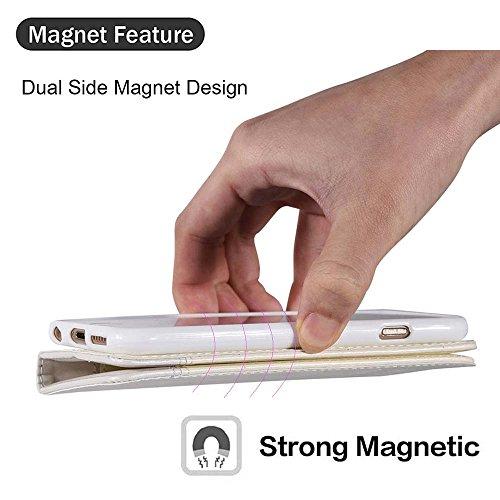 Custodia iPhone SE Cover iPhone 5s / 5 - Dfly Custodia In Pelle Con Invisibile Forte Inarcamento Magnetico Doppio Side Magnete Design Flip Cover Per iPhone SE 5 5s, Rosso Blu