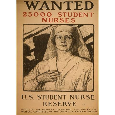 Estados Unidos de WW1 1914-1918 Propaganda quería: 25,000 de enfermería para los EE.UU pero ikb reserva 250gsm polarmk tarjeta del arte A3