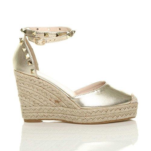 Damen Hohe Keilabsatz Ziernagel Knöchelriemen Espadrilles Schuhe Sandalen Größe Gold