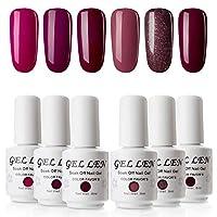 Gellen Burgundy Gel Nail Polish - UV LED Soak Off Long Lasting Ge Lacquer 8ml Gel Polish Colours Set