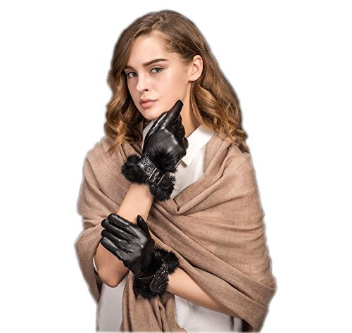 Isotoner Nylon-handschuhe (YISEVEN Damen Winter Handschuhe Touch Screen klassische Schwarze Schaffell Lederhandschuhe mit warm gefüttert-Large/7.5