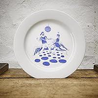 Teller / Brunchteller / Kuchenteller Hafenkneipe maritimes Design - Porzellan blau-weiss von Ahoi Marie