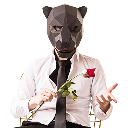 ske Tierkopf Formen DIY Halloween Party Kostüm Cosplay Gesichts Papier-Craft Kit (Leopard) (Adult Leopard Kostüme)