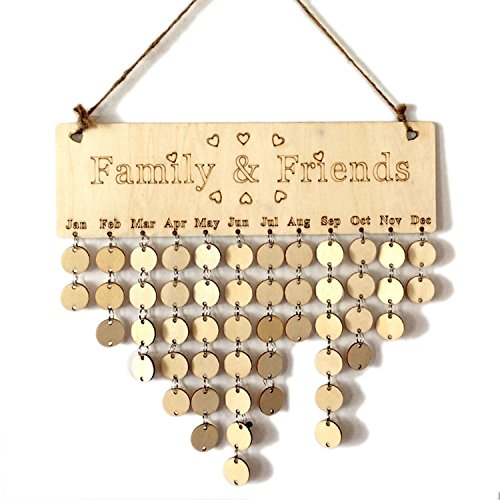 Familie Wood Geburtstag Plaque Friends reminder diy Kalender Geschenk für Home Dekoration (Family,Friends + Round Discs)