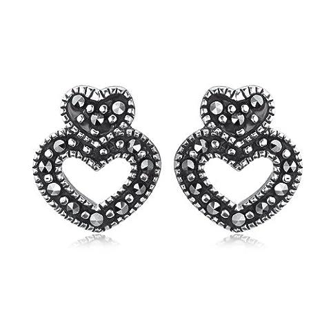 Boucles d'oreille - Femme - Coeur - Argent 1.8 Gr - Marcassite