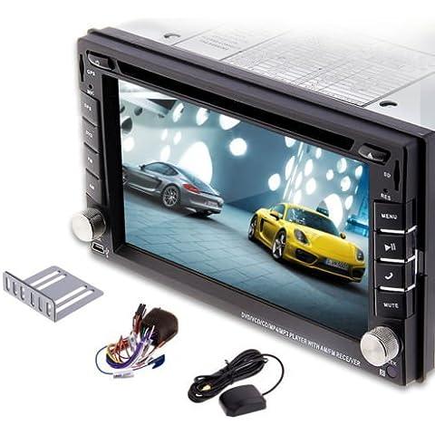 LightInTheBox@ 2015 nuevo modelo de 6.2 pulgadas de doble DIN 2 En el tablero de coches reproductor de DVD tactil LCD de pantalla del monitor con DVD / CD / MP3 / MP4 / USB / SD / AM / FM / RDS Radio / Bluetooth / estereo / audio y navegación GPS SAT NAV papel para pared intercambio HD: 800 * 480 LCD + reciente de Windows Win 6 UI Disco Antena Libre GPS + Mapa de la