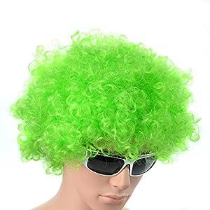 Gifts 4 All Occasions Limited SHATCHI-1454 Shatchi-Green - Peluca afro rizada para disfraz, accesorio para disfraces, payaso disco, unisex, 70 S