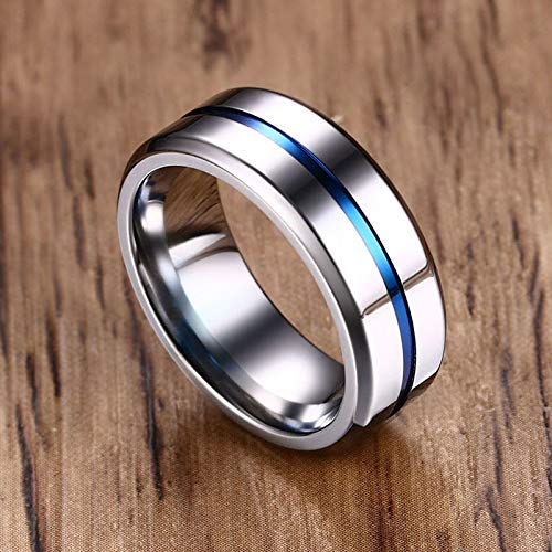 XBYEE 8mm Schwarz Silber Ring für Männer 316L Titan Stahl Wedding Bands Trendy Einzel Groove Anel Ringen Man Boy Friend Geschenk Dropship (10mm Wedding Schwarz Mens Bands)