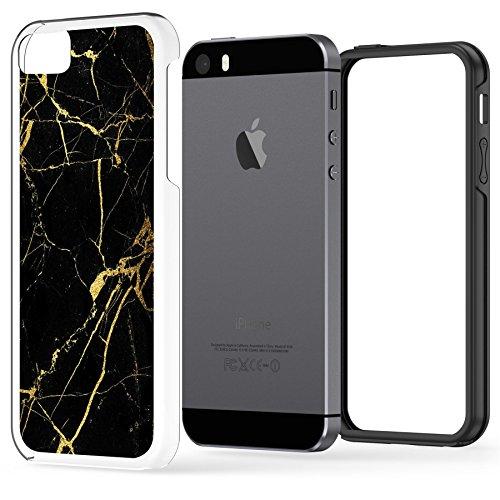 iPhone SE 5 5s langlebige Schutzhülle Cover / Case / Hülle / Fall, True Color® Gräulich Blauer Marmor [Kollektion Stein-Textur] Slim Hybrid Hartschale + Soft-TPU-Bumper [True Protect Serie] Schwarz-goldener Marmor