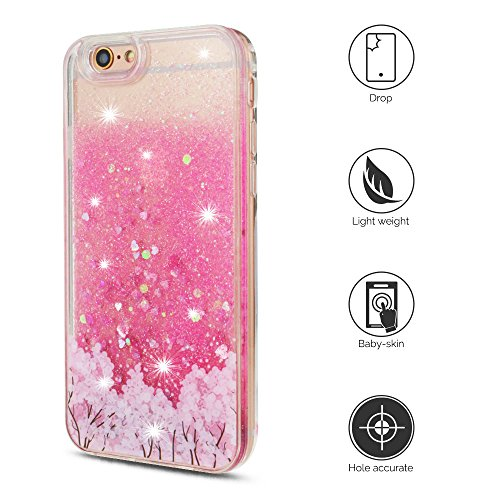 Cover iPhone 6s Custodia iPhone 6 Silicone Quicksand Anfire Morbido Flessibile Trasparente Gel TPU Case per Apple iPhone 6 / 6s (4.7 Pollici) Sabbie Mobili Cover Rosa Bling Glitter Cristallo Stella Fl Cherry Tree