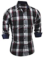 Tootlessly Men's Plaid Button Down Long Sleeve Dress Shirt XL Black