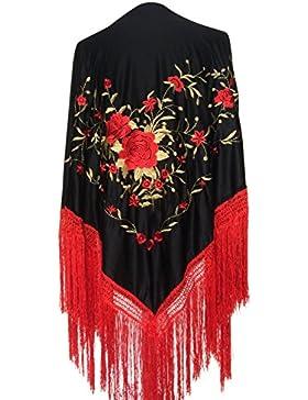 La Señorita Mantones bordados Flamenco Manton de Manila Grande negro rojo oro, flecos rojo