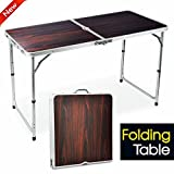 popamazing 4ft Aluminum Portable Folding Camping Picnic Party Dining Table - 120cm x 60cm(L & W) - with Adjustable Legs (Red)