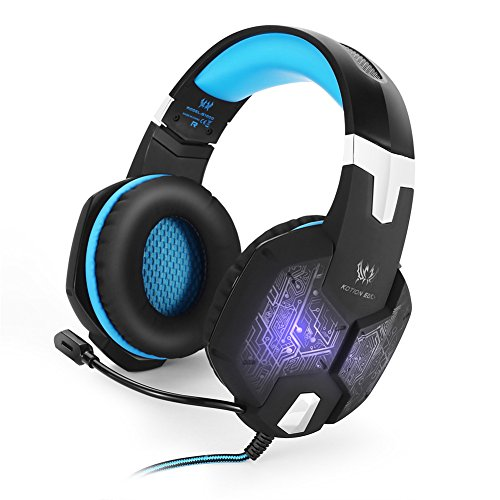 kotion je G1000Gaming Headset Kopfhörer Ohrhörer 3,5mm Stereo-Kopfband mit Mikrofon Noise Isolation Over-Ear Atmen LED-Licht für Laptop PC Computer Spiel Blau Blau