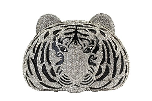 Yilongsheng Frauen Tiger geformte Abend Taschen mit Kristall Strass schwarzes Silber