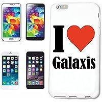 """cubierta del teléfono inteligente Samsung Galaxy S5 """"I Love Galaxis"""" Cubierta elegante de la cubierta del caso de Shell duro de protección para el teléfono celular Samsung Galaxy S5 … en blanco ... delgado y hermoso, ese es nuestro hardcase. El caso se fija con un clic en su teléfono inteligente"""