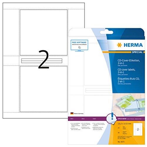 Herma 4373 CD DVD Cover Etiketten zum Aufkleben oder Einschieben, weiß, 50 Aufkleber, 25 Blatt DIN A4 Papier matt, bedruckbar, für alle Jewel und Slim Cases (Cd-cover-etiketten)