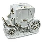 HC-Handel 912782 Hochzeits Spardose Kutsche Hochzeitskasse Polyresin 17,5 x 9,5 cm weiß/gold