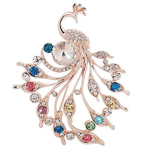 Wicemoon Alloy Diamant Pfau Brosche Kleidung Zubehör Corsage Pin (Kleidung-corsagen)