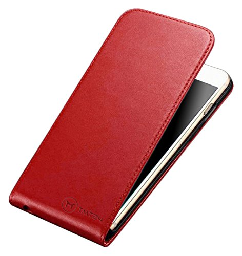 TMTmove® PREMIUM Leder Flip-Case Handytasche Schutzhülle für Iphone 4 / 4s Slim Design - handgefertigte Lederhülle Down-Flip Cover Etui Ledertasche mit Magnetverschluss( creme weiß ) Rot