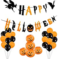 Halloween Pumpkin Balloons, 28 Pieces Black and Orange Balloons with Happy Halloween Banner for Halloween Party Decorations Trick or Treat Toys, School Classroom Game, Kids Hand Out