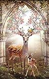 Kamierfa parents faons Motif DIY fait à la main pleine Foret diamant Peinture de résine Strass Collez-le Croix 40 * 60cm