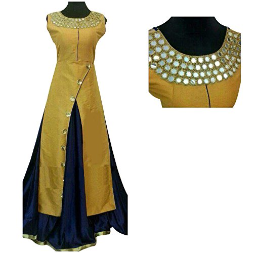 Skyblue Fashion Yellow Colour Mirror Work Indo Western Semi Stitched Party Wear Suits With Net Dupatta