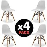 Due-home (Nordik) - Pack 4 sillas tower blanca , silla réplica eames blanco y madera de haya ,dimensiones 47 cm ancho x 56 cm fondo x 81 cm altura