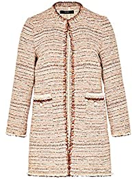 Hallhuber Crop Coat with Frayed Hem & Bead Details
