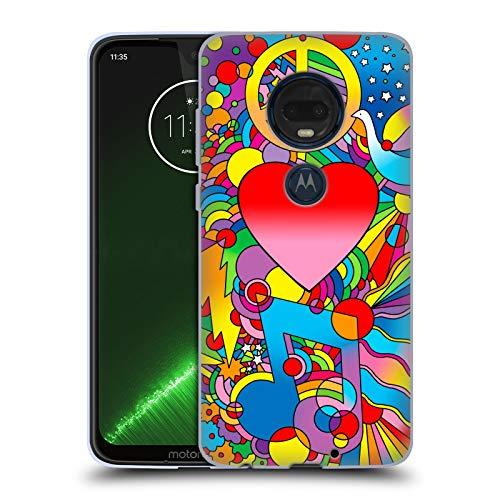 Head Case Designs Offizielle Howie Green Frieden, Liebe Und Musik Herzen Soft Gel Hülle für Motorola Moto G7 Plus