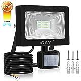 20W CLY Foco LED Exterior 2000LM,Luz Pared Sensor Movimiento Cálida 6500K, IP66 Focos LED Sensor Movimiento Exterior Impermeable,Lámparas Led de Seguridad para Jardins,Garaje,Acera,Escaleras,Pasillo
