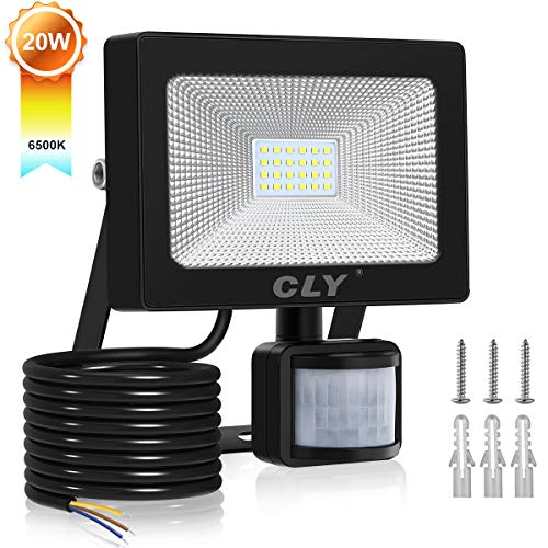 CLY 20W LED Strahler mit Bewegungsmelder,LED Scheinwerfer 2000LM IP66 Wasserdicht, Außenstrahler Superhelle,Kaltes Weiß,LED Fluter Sensorleuchten für Garten, Hinterhof, Garage, Türen -