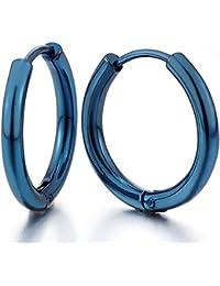 2 Azul Círculo Pendientes del Aro, Pendientes para Hombres Mujer, Acero Inoxidable