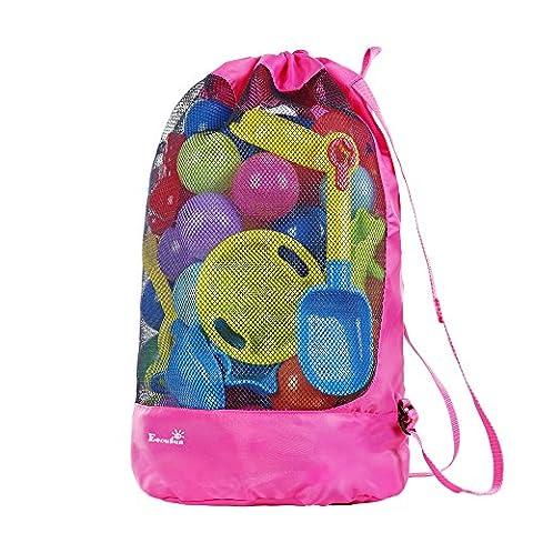 Strandspielzeug Tasche Strandtasche Mesh Beach Bag EocuSun für Sandspielzeug Wasserspielzeug Rücksack Beutel für kleinkind Kinder Jungen Mädchen Badetasche XXL groß für Familie Urlaub