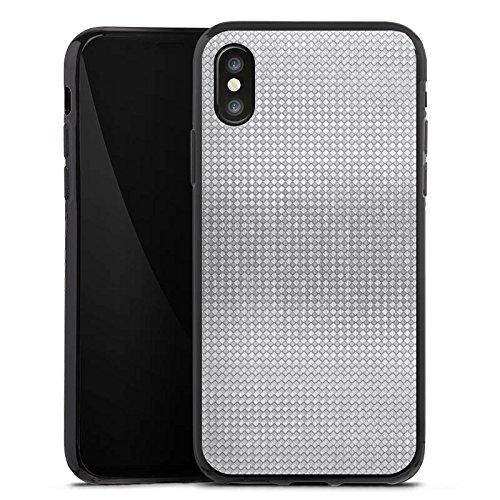 Apple iPhone X Silikon Hülle Case Schutzhülle Silber Muster Vierecke Silikon Case schwarz