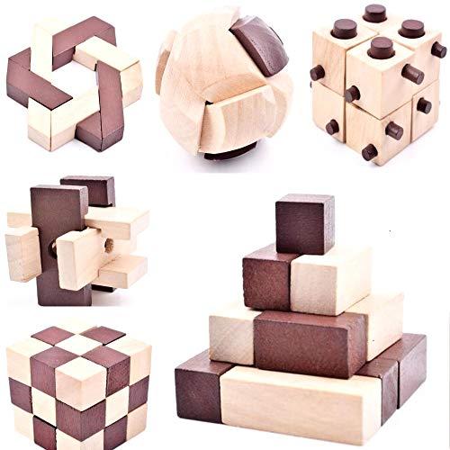 B&Julian 3D IQ Holzpuzzle 10 Puzzle Set aus Holz Knobelspiele Geduldspiel Rätselspiel Geschicklichkeitsspiel für Kinder Erwachsene Ideen Adventskalender Mitgebsel