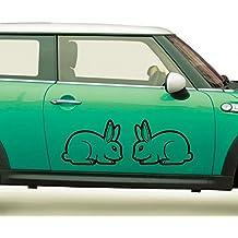 Autoaufkleber Hasen Tiere Tattoo Gefühle Liebe Auto Sticker Aufkleber 1A279, Farbe:Silbergrau glanz;Breite vom Motiv:40cm