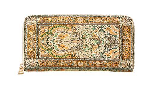 Portafoglio lungo da donna, portamonete a portafoglio etnico per donna, borsa lunga a mano di grande capacità, con chiusura arancione arancione
